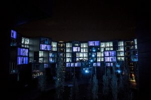 Illustrious soundscape synced with a light show at the Tietgen student housing complex, during the 2013 Strom Music Festival in Denmark.