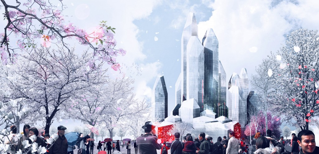 LAVA's crystalline scheme for an ice hotel and mixed uses complex in Harbin, China's 10th largest city.